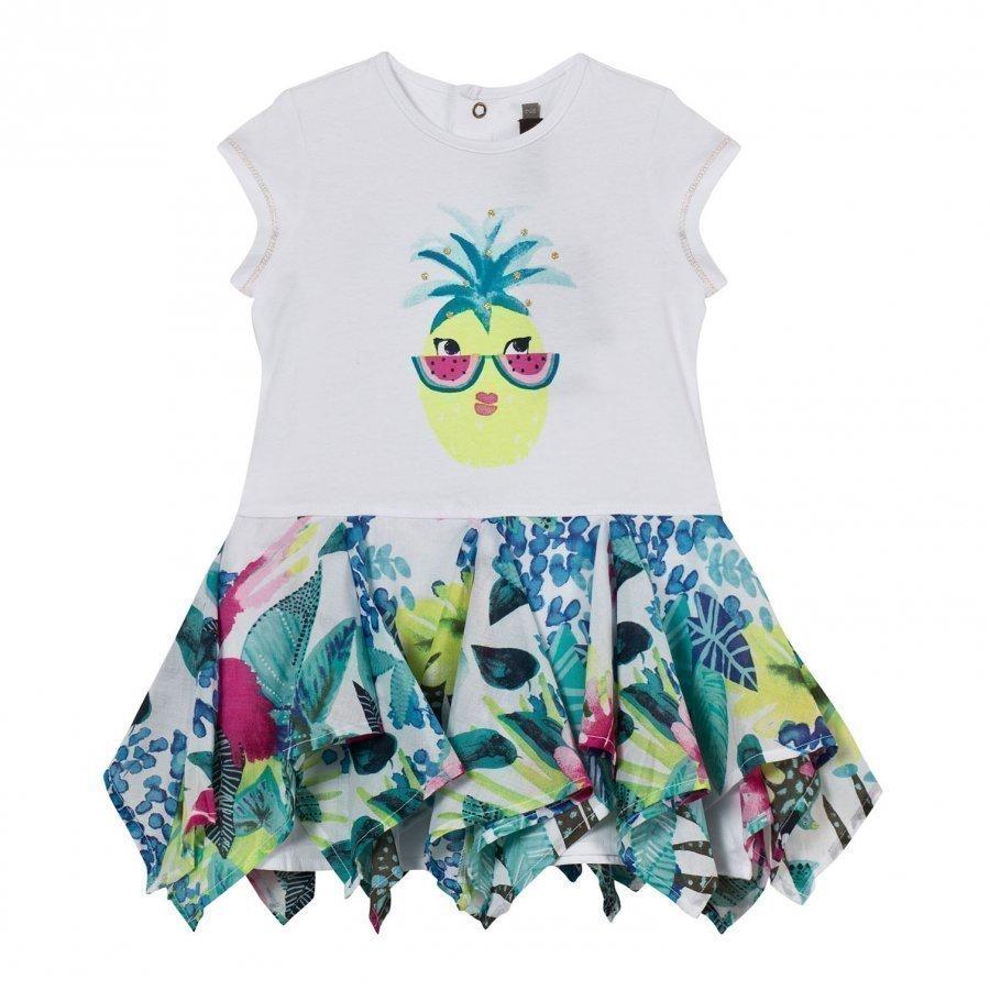 Catimini White Pineapple And Jungle Print Dress Mekko