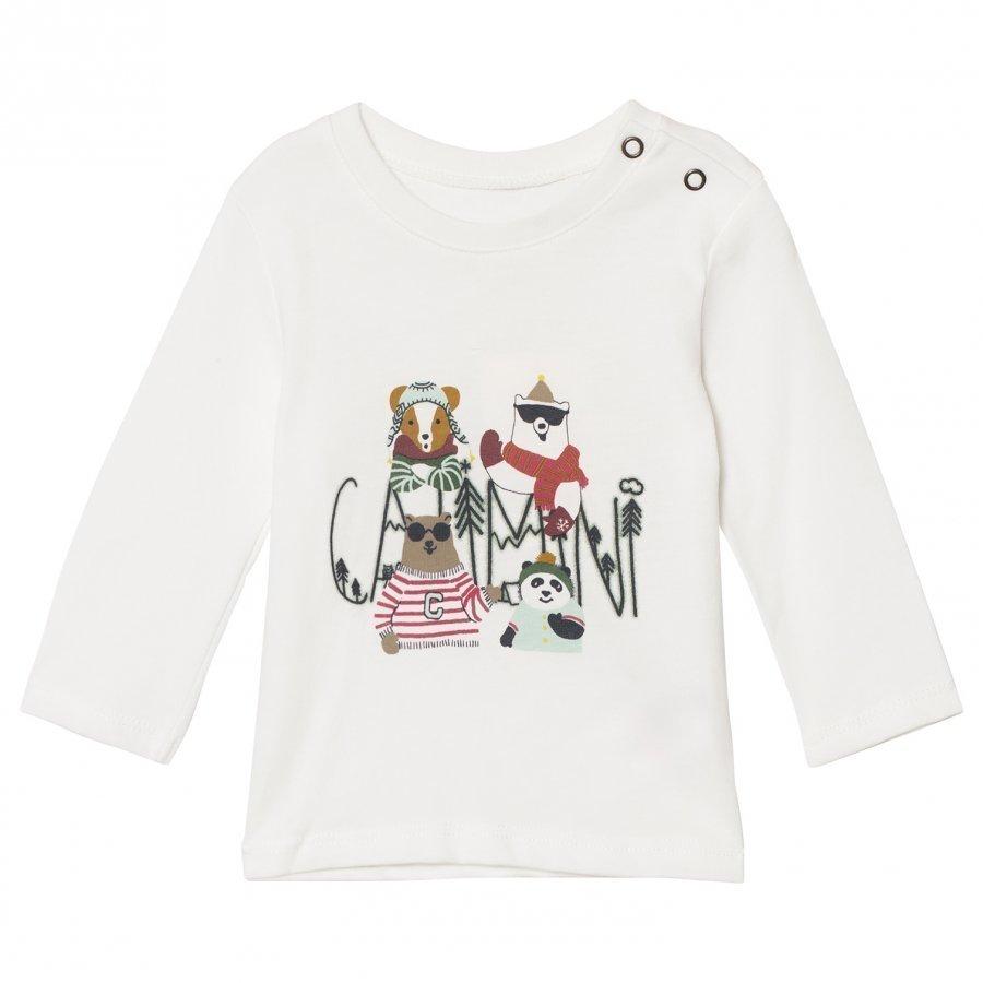 Catimini White Polar Animal Print Long Sleeve Tee T-Paita