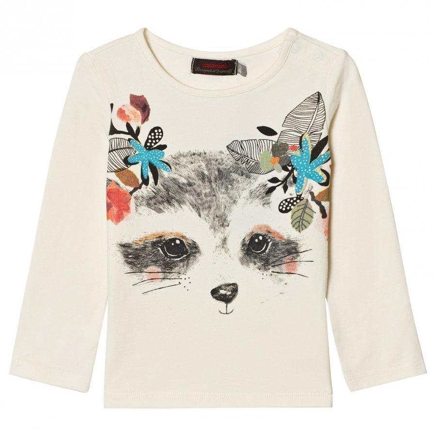 Catimini White Raccoon With Flowers Print Tee T-Paita