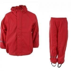 Celavi Rainwear Set W Fleece Sadetakki Punainen