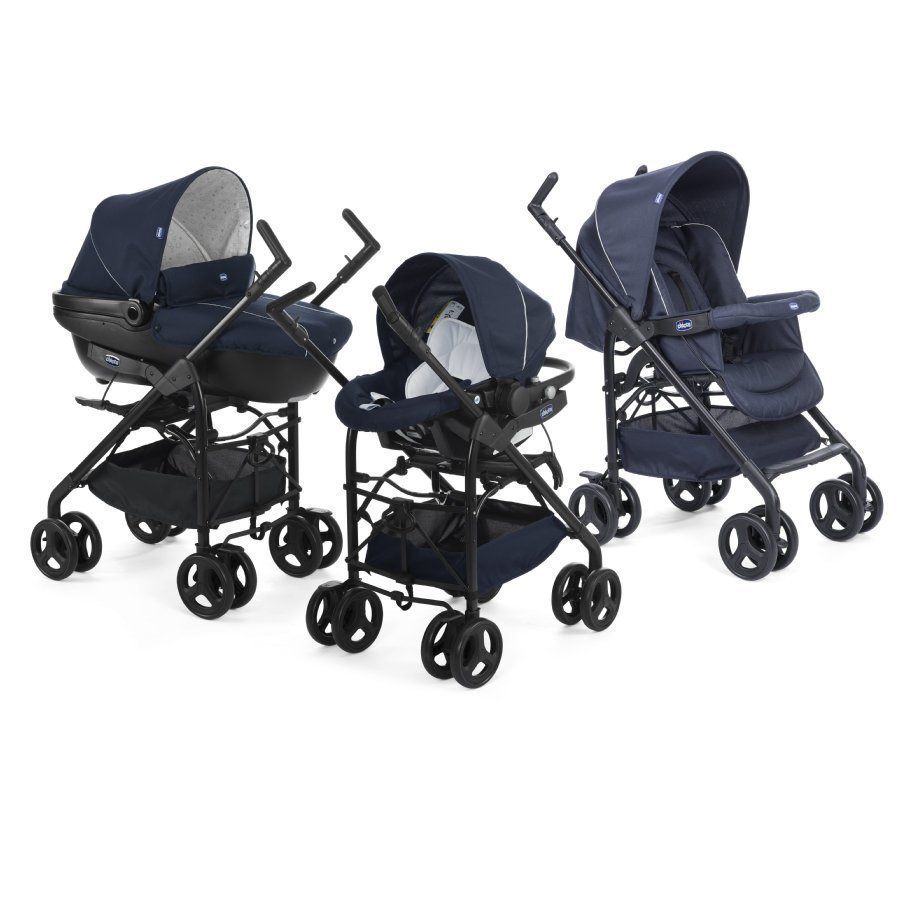 Chicco Trio Sprint Black Lastenvaunut + Car Kit Blue Passion