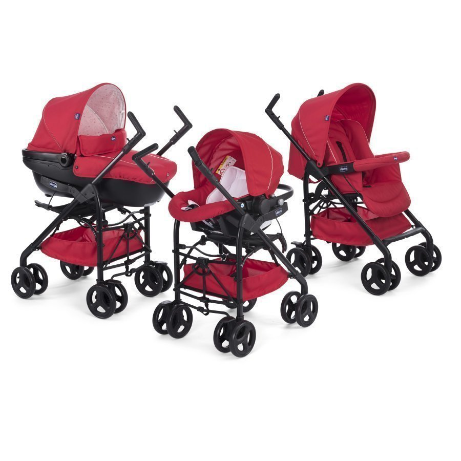 Chicco Trio Sprint Black Lastenvaunut + Car Kit Red Passio