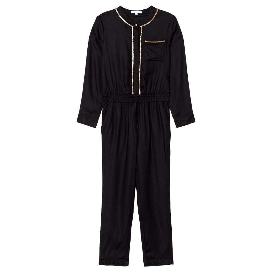 Chloé Black/Gold Twill Embroidered Jumpsuit Potkupuku