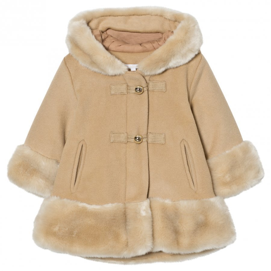 Chloé Camel Wool Faux Fur Hooded Coat Parkatakki