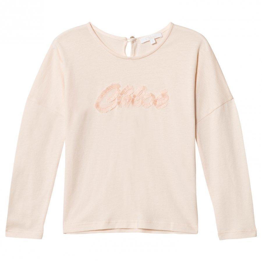 Chloé Pale Pink Fringe Branded Tee T-Paita