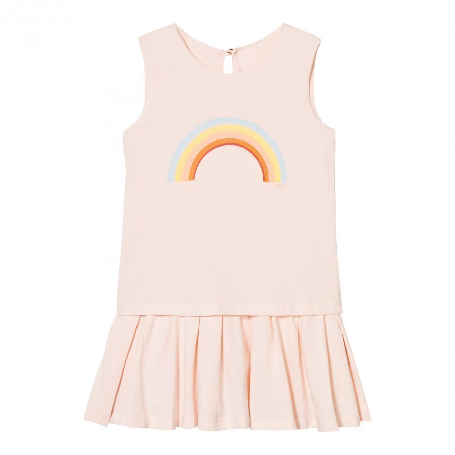 Chloé Peach Rainbow Print Jersey Dress Mekko