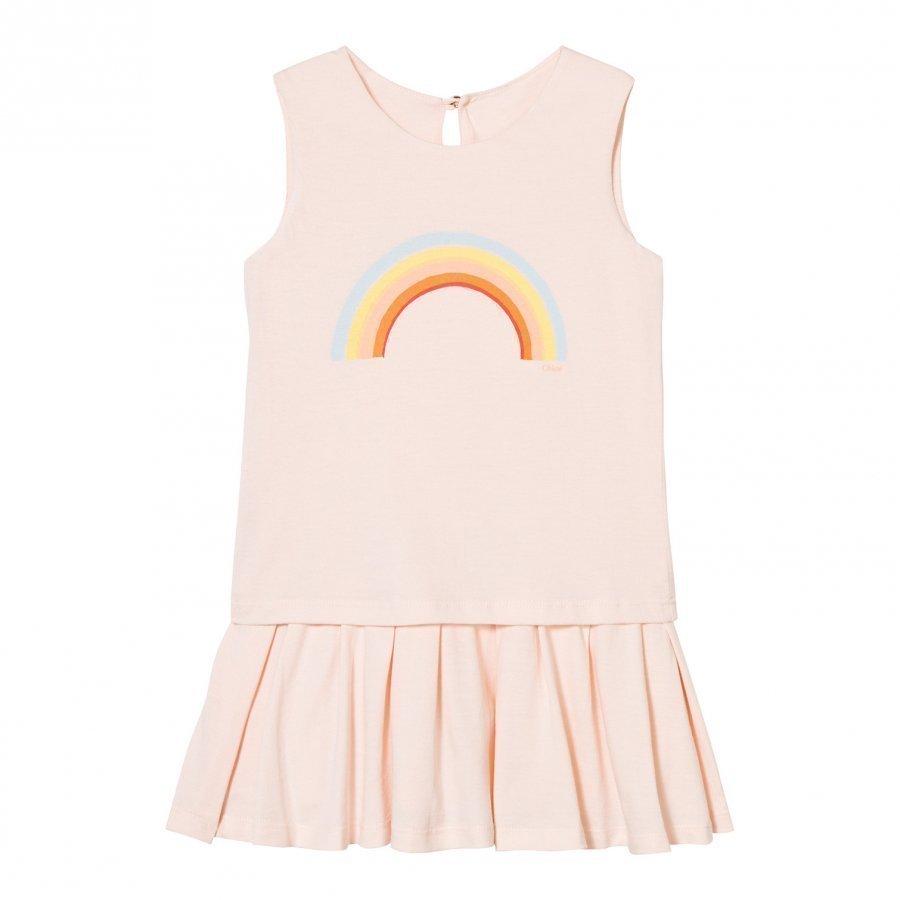 Chloé Peach Rainbow Print Jersey Dress Mekko