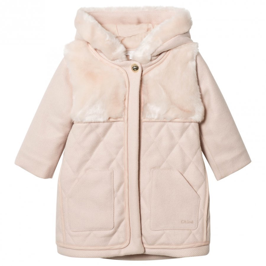 Chloé Pink Wool Quilted Faux Fur Hooded Coat Parkatakki
