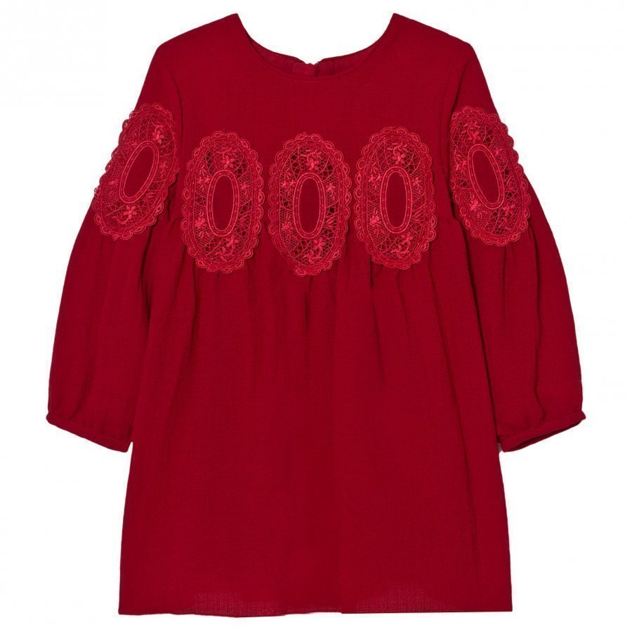 Chloé Red Lace Panel Crepe Long Sleeve Dress Mekko