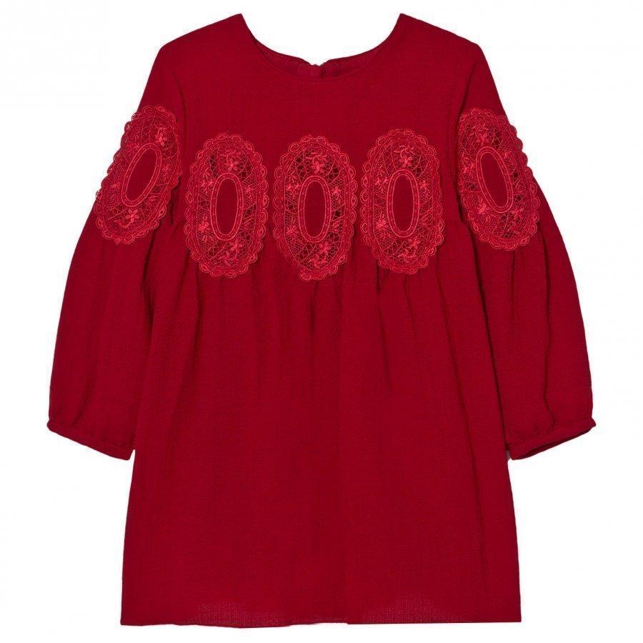 Chloé Red Lace Panel Crepe Long Sleeve Dress Mekko