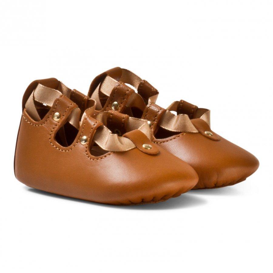Chloé Tan Lace Up Crib Shoes Vauvan Kengät