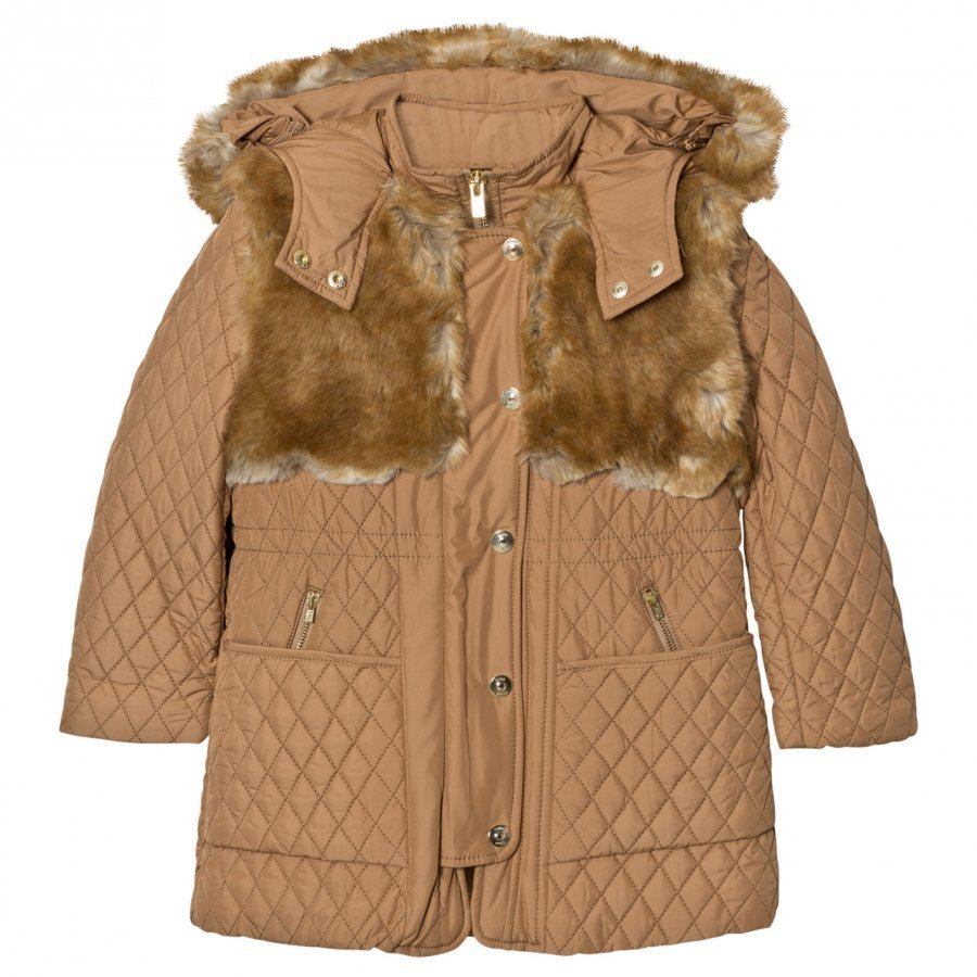 Chloé Tan Long Line Quilted Coat With Faux Fur Hood Toppatakki