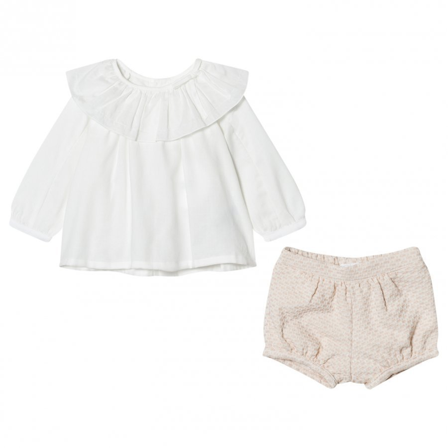 Chloé White Frill Collar Blouse And Tweed Shorts Set Asusetti