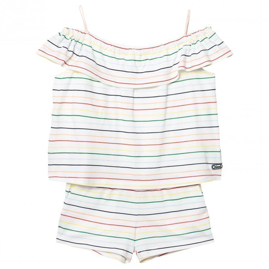 Chloé White Rainbow Stripe Asymmetric Jumpsuit Potkupuku