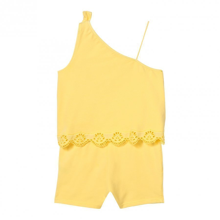 Chloé Yellow Broderie Anglaise Hem Tiered Asymmetric Playsuit Potkupuku