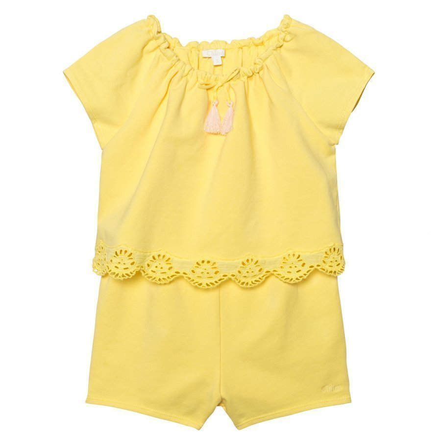 Chloé Yellow Jersey Playsuit With Tiered Scallop Front Potkupuku
