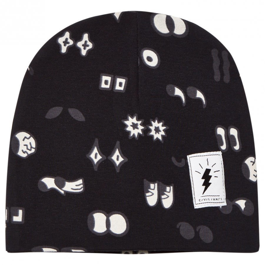 Civiliants Allover Print Jersey Beanie Black Pipo