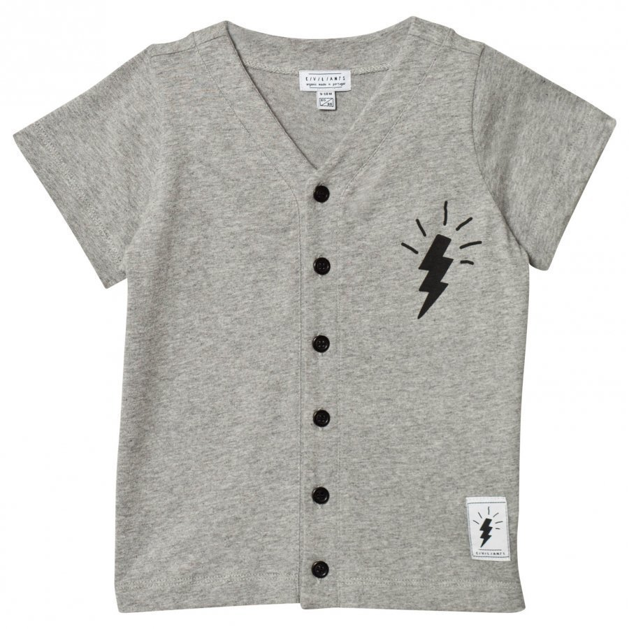 Civiliants Button Tee Grey Melange T-Paita