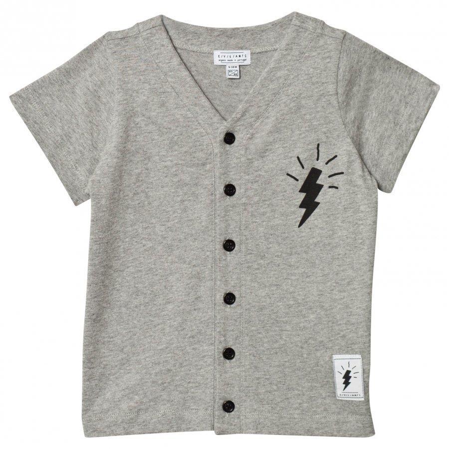 Civiliants Button Tee Grey Melange T-Paita