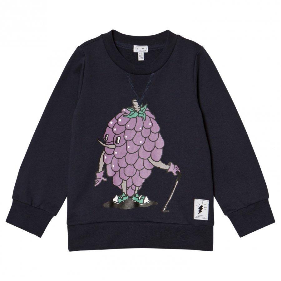 Civiliants Grape Print Sweater Navy Oloasun Paita