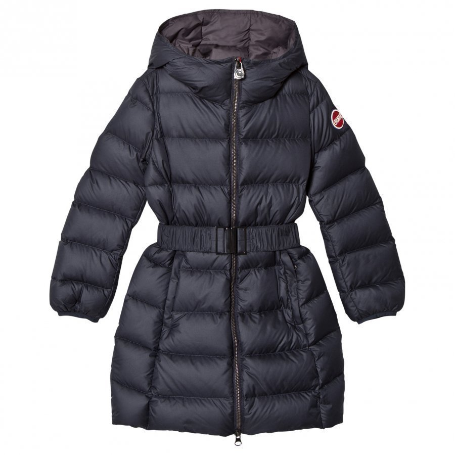 Colmar Navy Empire Long Down Coat With Hood And Belt Toppatakki