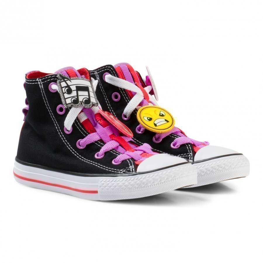 Converse Black Chuck Taylor All Star Emoji Energy Loophole Hi Tops Korkeavartiset Kengät