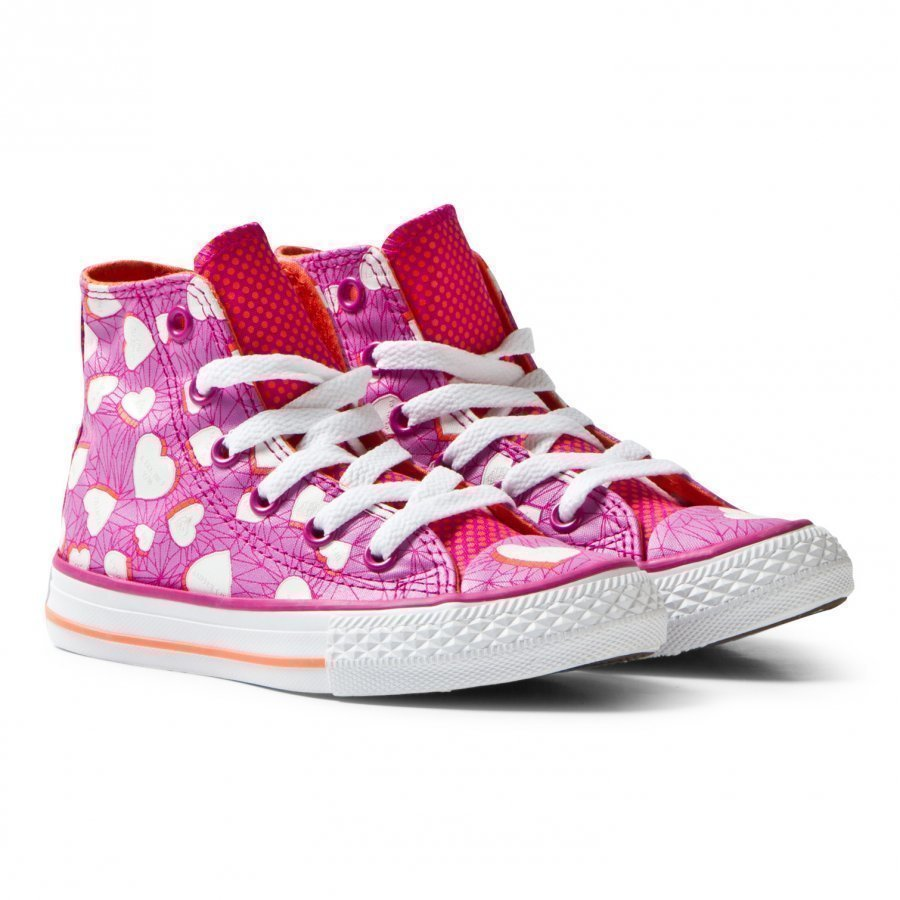 Converse Chuck Taylor All Star Heart Print Magenta Glow And White Lenkkarit
