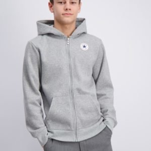 Converse Fleece Chuck Patch Full Zip Hoodie Huppari Harmaa
