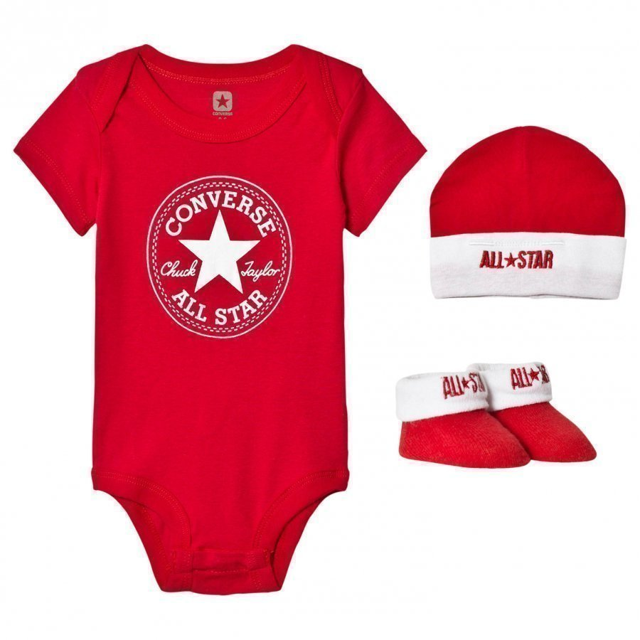Converse Red Baby Body Beanie And Booties Set Body