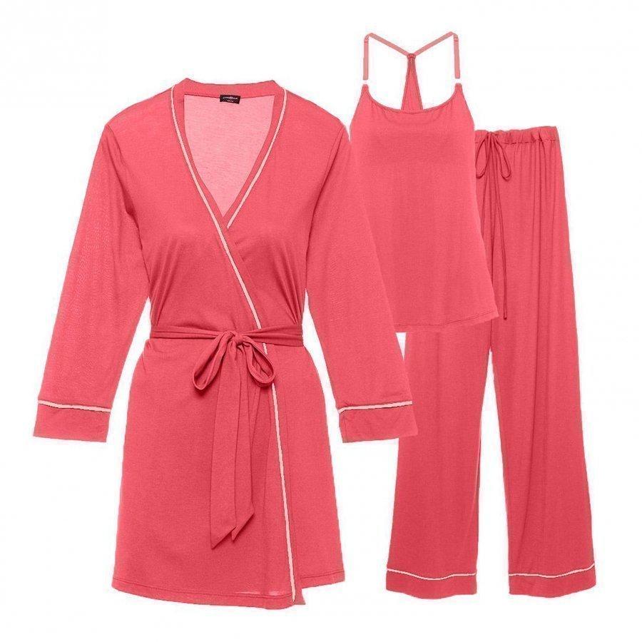 Cosabella Maternity Bella Maternity 3-Piece Pyjama Set Coral/Pink Cadillac Raskauden Yöasu