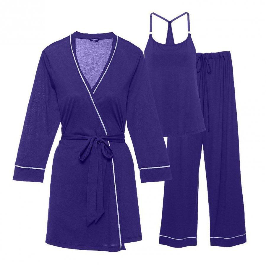 Cosabella Maternity Bella Maternity 3-Piece Pyjama Set Regency Purple/Periwinkle Raskauden Yöasu