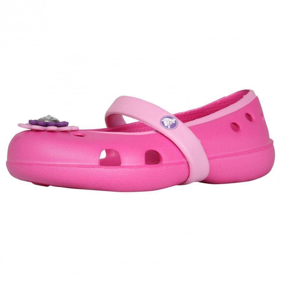 Crocs Keeley Petal Charm Flat Neon Magenta Ballerinat