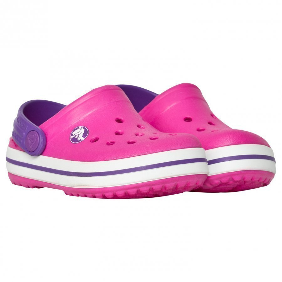 Crocs Kids' Crocband Neon Magenta/Neon Purple Slip On Kengät
