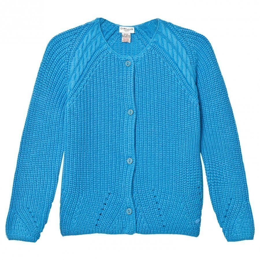 Cyrillus Bright Blue Cotton Stitch Cardigan Neuletakki