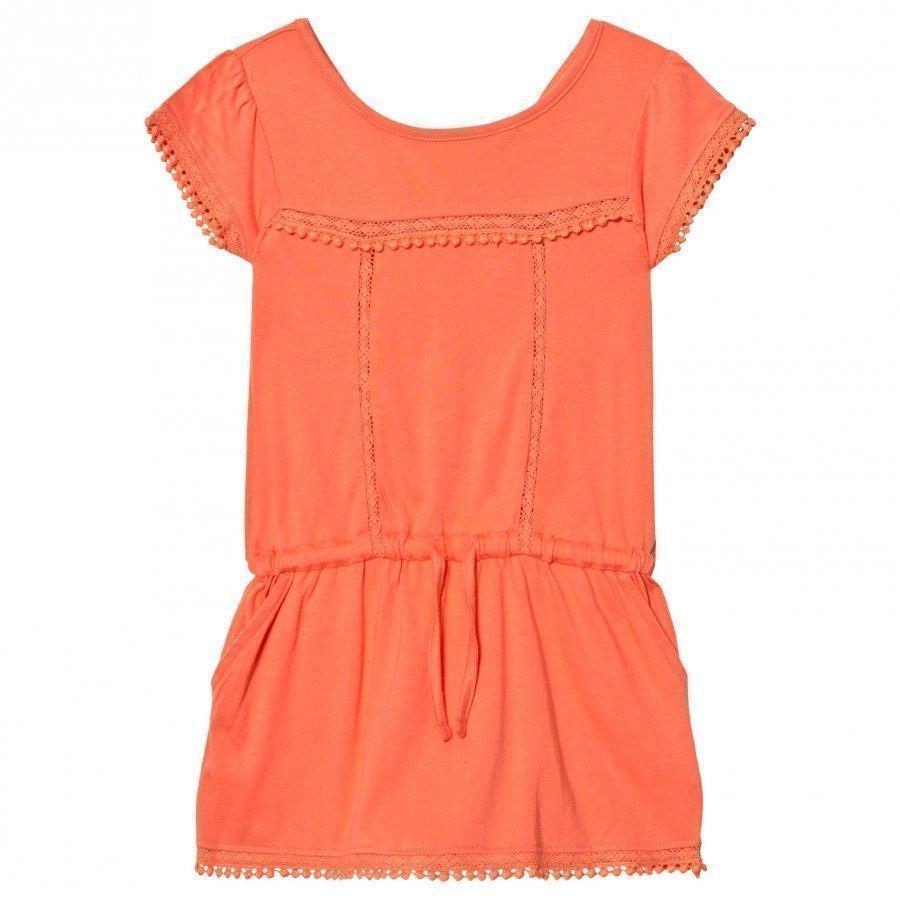 Cyrillus Coral Pom Pom Drop Waist Jersey Dress Mekko