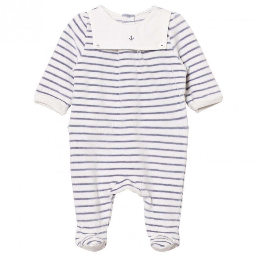 Cyrillus Footed Baby Body White/Navy Stripe Velour Body