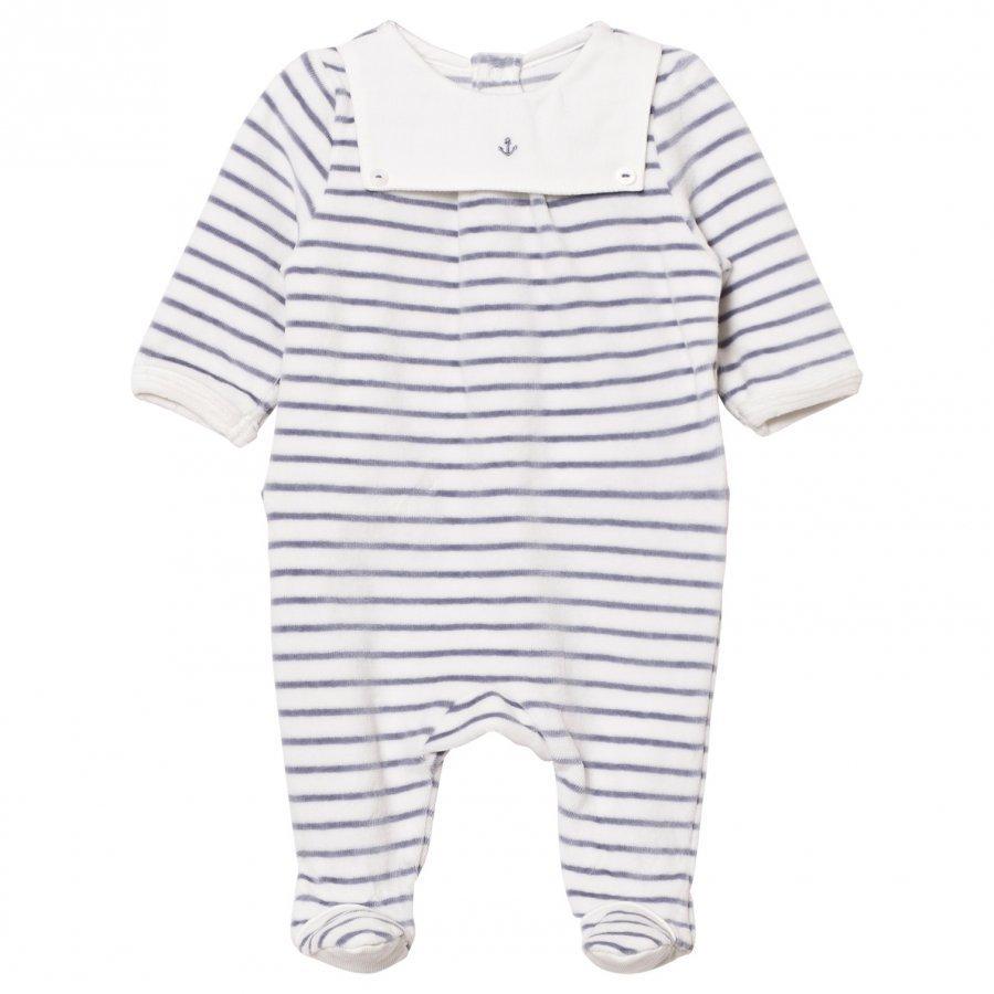 Cyrillus Footed Baby Body White/Navy Stripe Velour Body
