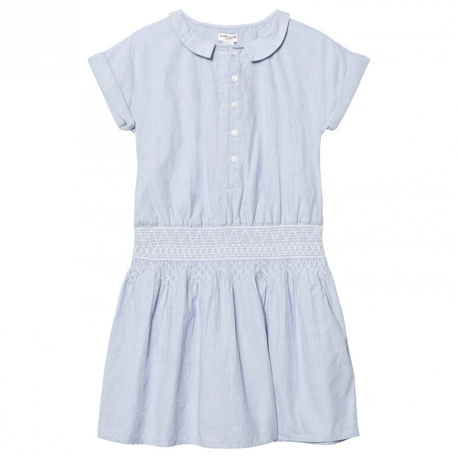 Cyrillus Light Blue Smock Waist Shirt Dress Mekko