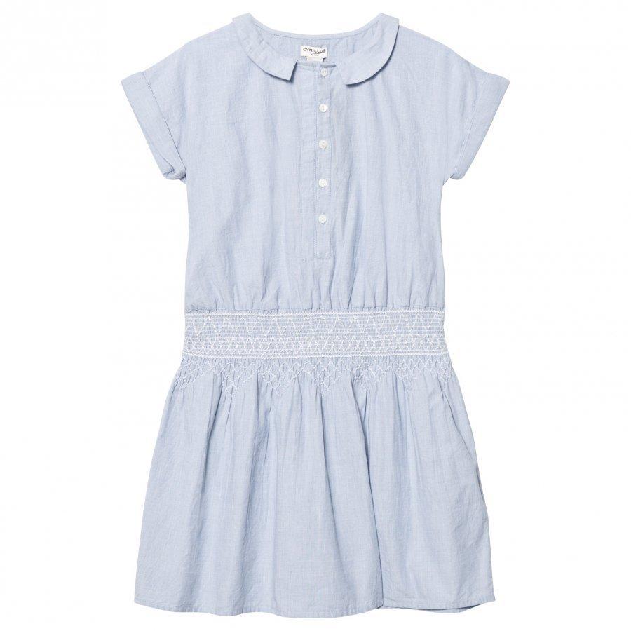 Cyrillus Light Blue Smock Waist Shirt Dress Mekko