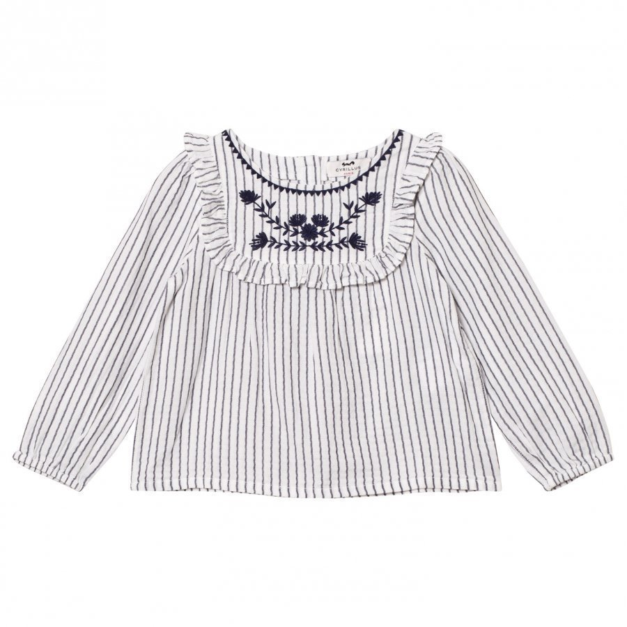 Cyrillus Navy And Cream Stripe Long Sleeve Blouse Kauluspaita