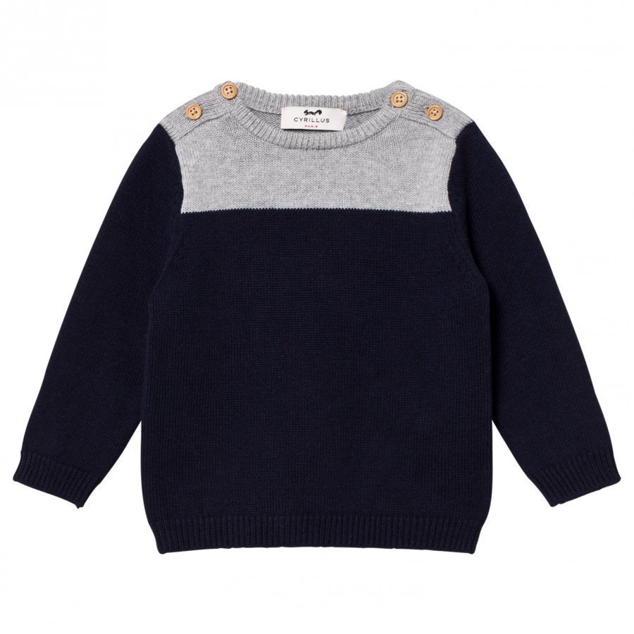 Cyrillus Navy And Grey Marl Sweater Oloasun Paita