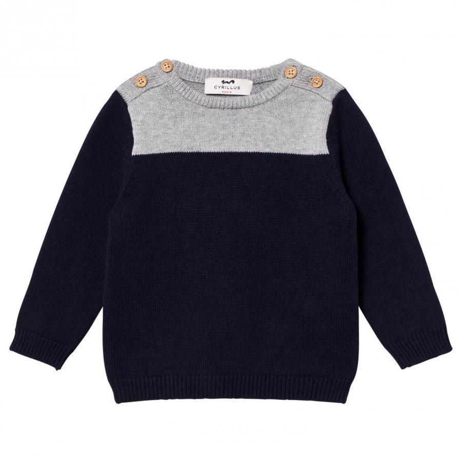 Cyrillus Navy And Grey Marl Sweater Oloasun Paita