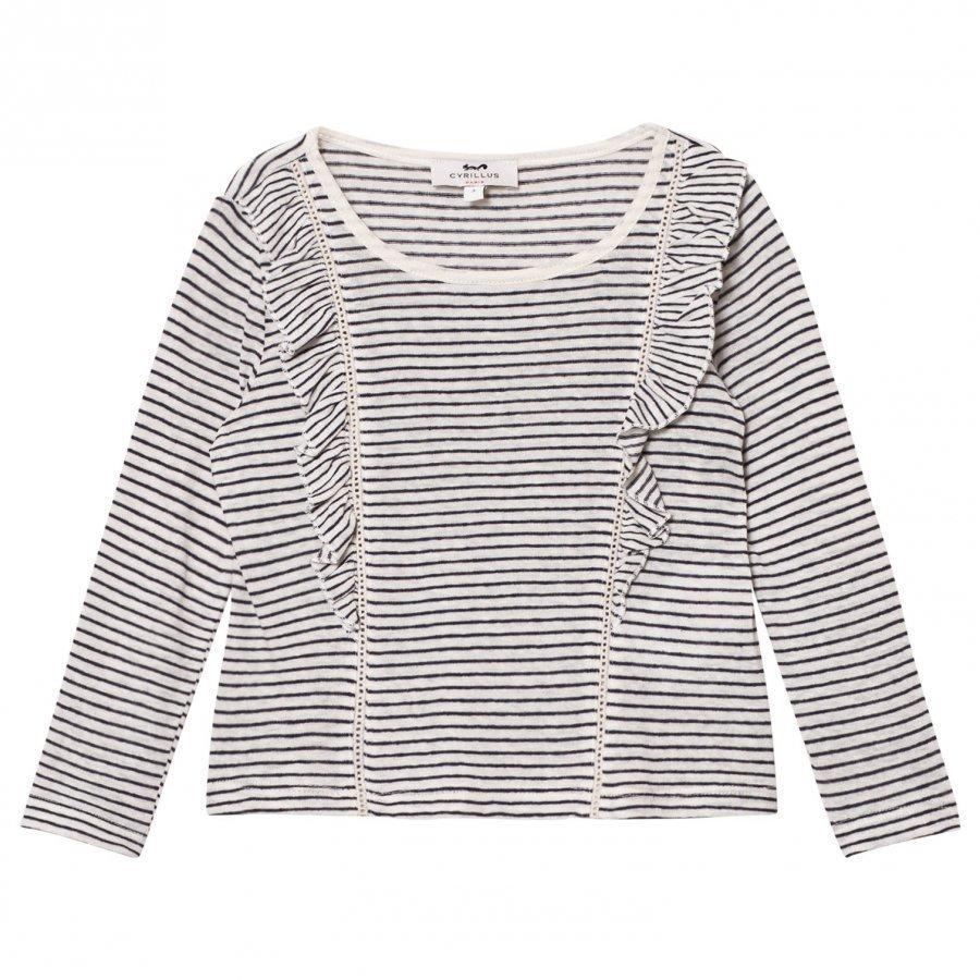 Cyrillus Navy And White Stripe Long Sleeve Tee Pitkähihainen T-Paita