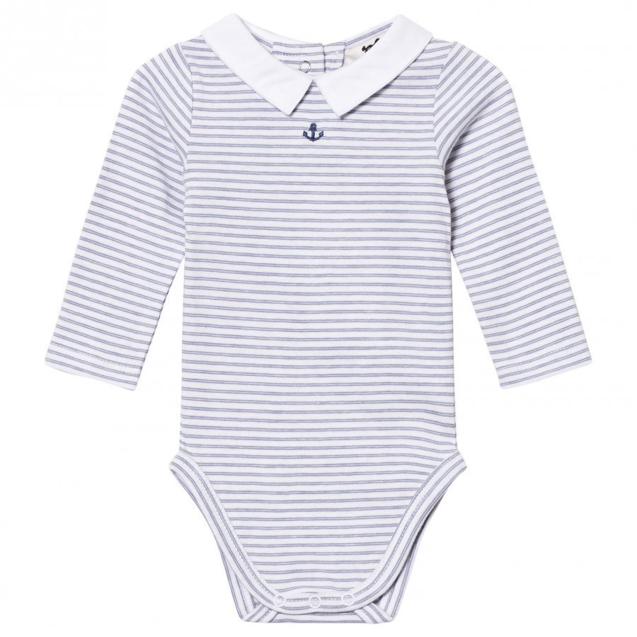 Cyrillus Navy And White Striped Long Sleeve Baby Body