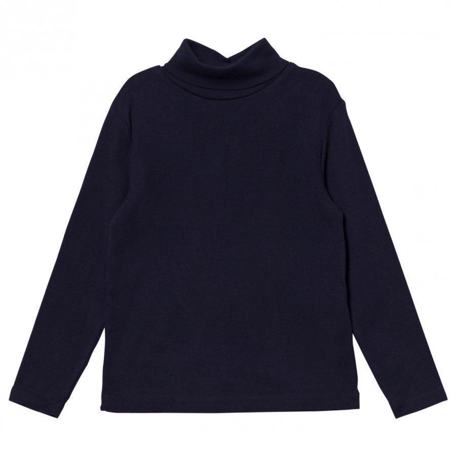 Cyrillus Navy Long Sleeve Polo Neck Tee Pitkähihainen T-Paita