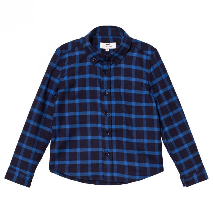 Cyrillus Navy/Blue Check Long Sleeve Shirt Kauluspaita