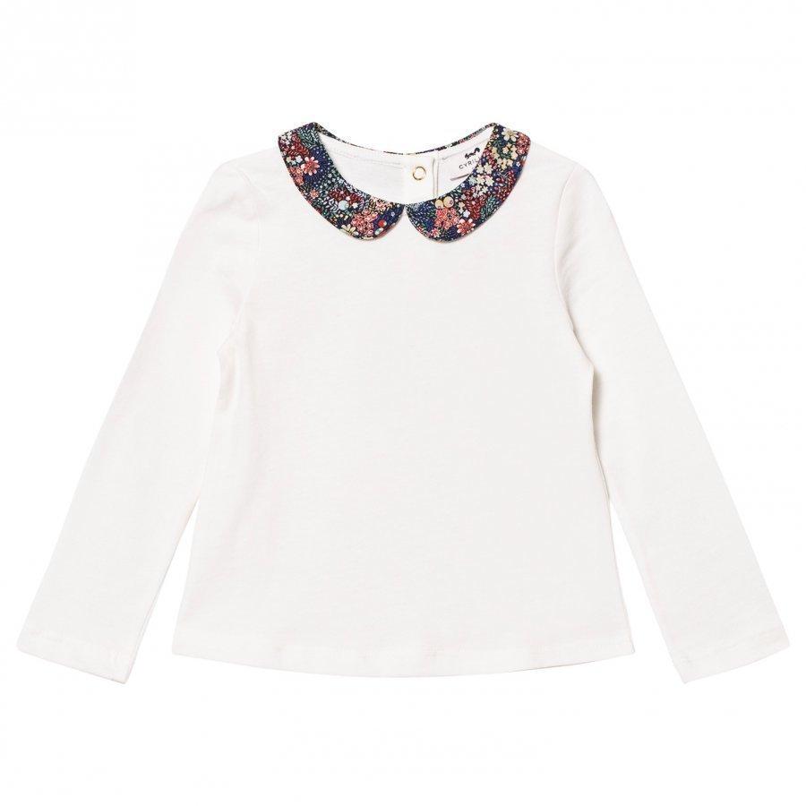 Cyrillus Off-White Long Sleeve Tee With Liberty Collar Pitkähihainen T-Paita