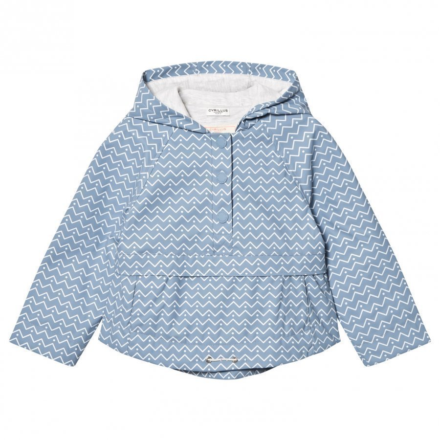 Cyrillus Pale Blue Printed Hooded Raincoat Sadetakki