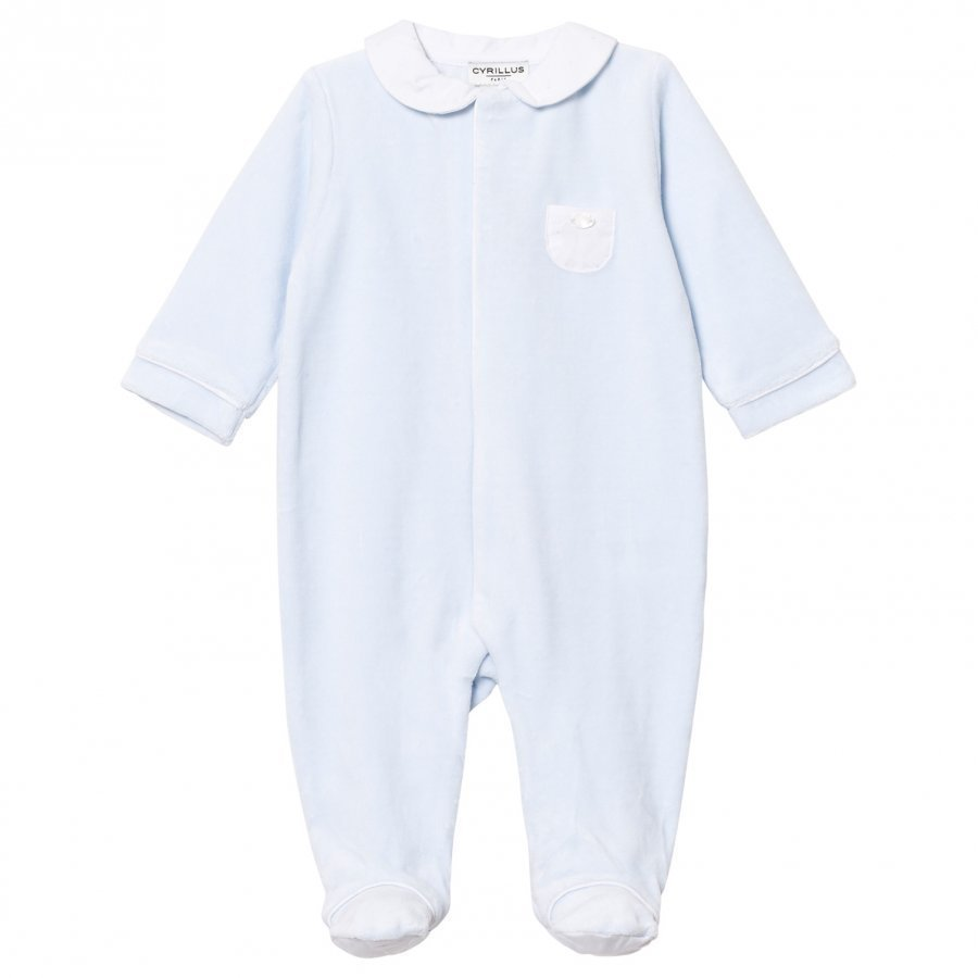Cyrillus Pale Blue Velour Footed Baby Body