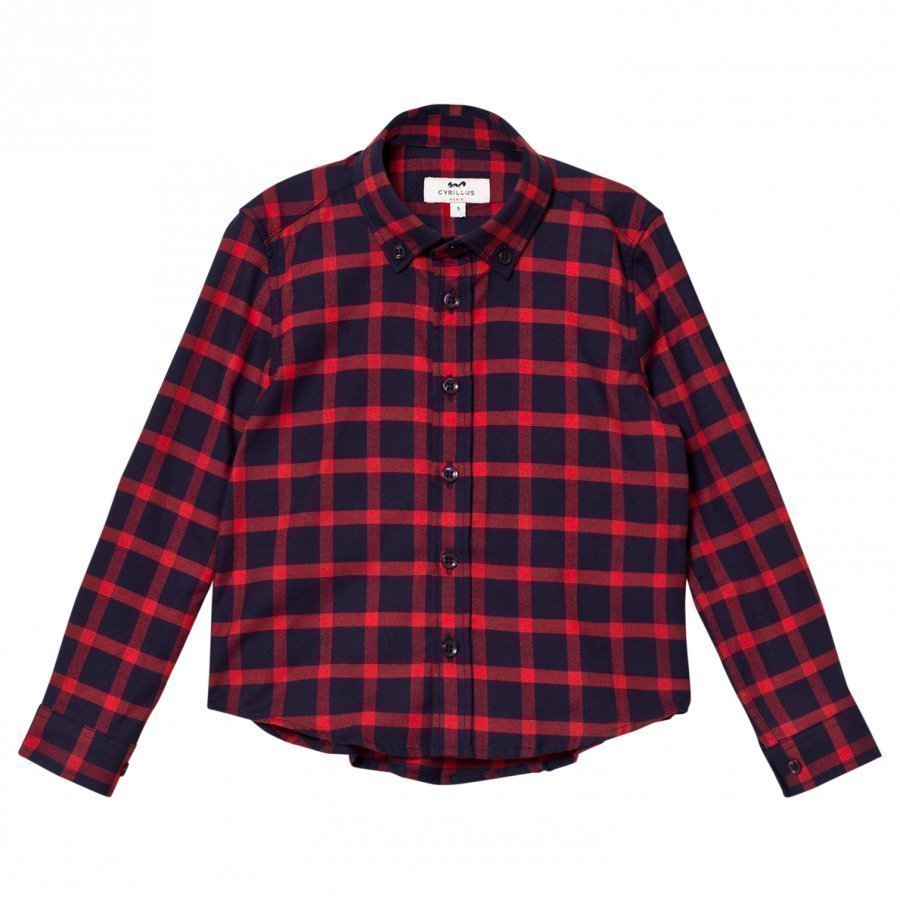 Cyrillus Red/Navy Check Long Sleeve Shirt Kauluspaita